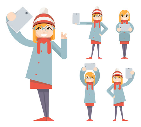 Cute Girl Geek Hipster Smartphone Photo Selfie Casual Character Icons Cartoon Flat Design Vector illustration
