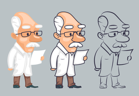 Lineart scientist reading paper study character vector illustration