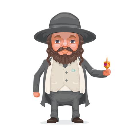 Male rabbi payot beard traditional jewish costume hold dreidel in hand cartoon character design.