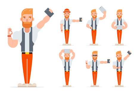 Selfie Geek Hipster Casual Character Icons Set Cartoon Isolated Vector illustration