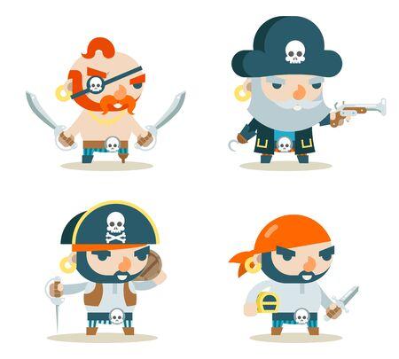 Pirate Buccaneer Filibuster Corsair Sea Dog Fantasy RPG Treasure Game Character Icons Set Flat Design Vector Illustration
