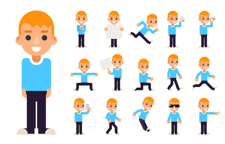 schoolkids: Boy in Different Poses and Actions Teen Characters Icons Set Isolated Flat Design Vector Illustration