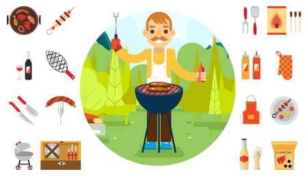 dinner party: Barbecue man cook vacation food icons car background nature forest mountain design flat vector illustration