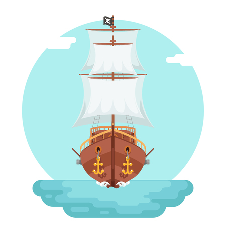 floating: Front View Wooden pirate buccaneer filibuster corsair sea dog ship game icon isolated flat design vector illustration