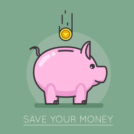 savings account: Money saving bank coin pig concept lineart design vector illustration