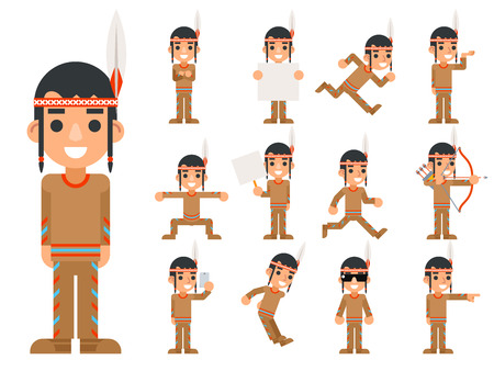 indian teenager: Red American Traditional Native Tribal Culture Feather Indian Boy in Different Poses and Actions Teen Characters Icons Set Isolated Flat Design Vector Illustration
