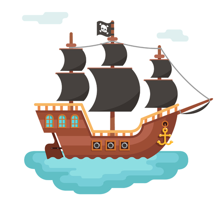 Wooden pirate buccaneer filibuster corsair sea dog ship icon game isolated flat design vector illustration