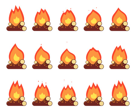 burning: Motion Animation Flame Burn Night Camp Campfire Game Element Isolated Frames Set Flat Design Vector Illustration