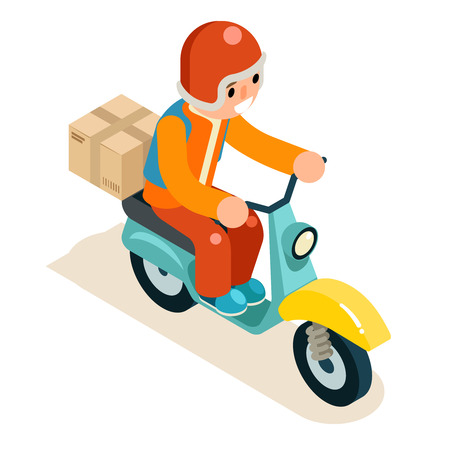 Isometric 3d Delivery Courier Scooter Box Symbol Icon Concept Isolated Flat Design Vector Illustration