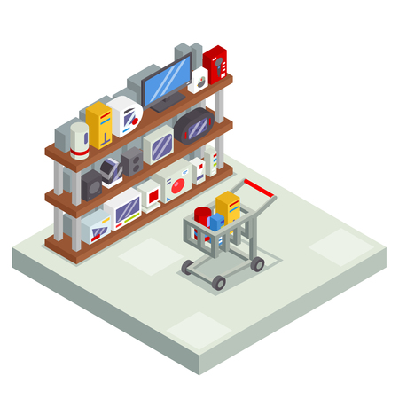 furniture design: Shopping Room Interior Shelf with Goods Trolley Cart Isometric Shop Business Sell Offer Sale Store Market Icon Flat Design Vector Illustration Illustration