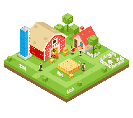 Village Agriculture Farm Rural House Building Isometric 3d Lowpoly Icon Real Estate Garden Symbol Meadow Background Flat Design Vector Illustration Illustration