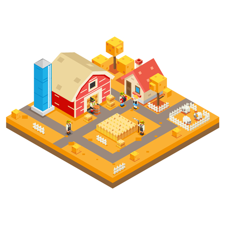 Village Agriculture Farm Rural House Building season Autumn Isometric 3d Lowpoly Icon Real Estate Garden Symbol Meadow Background Flat Design Vector Illustration