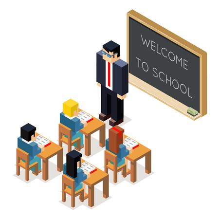 education lesson lowpoly 3d isometric classroom school board children pupil teacher flat design vector illustration