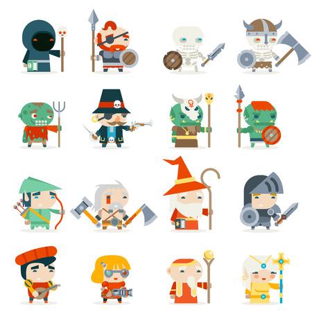 Fantasy RPG Heroes Game Villains Minions Character Vector Icons Set Flat Design Vector Illustration