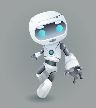 Mascot robot innovation technology science fiction future cute little 3d Icon artificial Intelligence design vector illustration