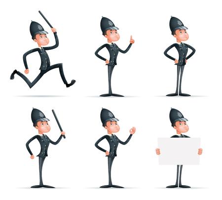 警察官男性制服警官順序法警官漫画マスコット キャラクター分離アイコン セット デザイン ベクトル イラストレーターの 3 d のセキュリティ保護