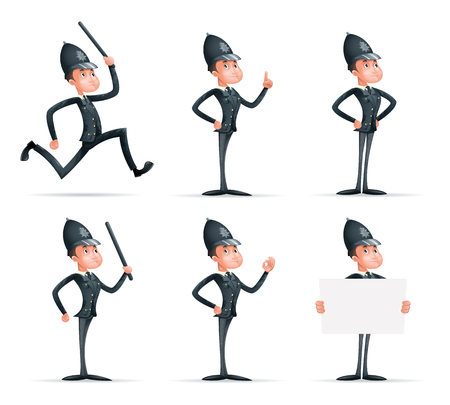 Police Officer Man Uniform Cop Order Law Policeman 3d Security Protection Cartoon Mascot Character Isolated Icons Set Design Vector Illustrator Illustration