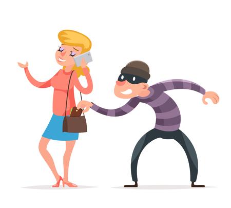 Masker misdadige mannelijke stelen dief portemonnee van ongelukkige vrouwelijke meisje teken geïsoleerd pictogram Cartoon ontwerp sjabloon vectorillustratie
