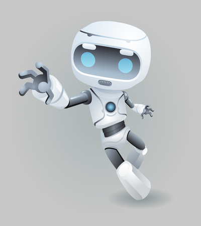 raise hand: Raise drag grab hand mascot robot innovation technology science fiction future cute little 3d Icon artificial Intelligence design vector illustration