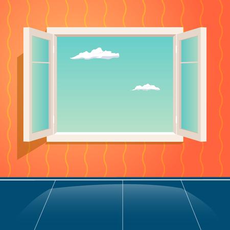 ホーム オープン ガラス フレーム ウィンドウ インテリア漫画デザイン テンプレート背景ベクトル イラスト