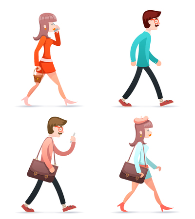 Male Female Hipster Geek Girl Man Vintage Woman Character Walk Mobile Phone Bag Case Icons Set Isolated Retro Cartoon Design Vector Illustration