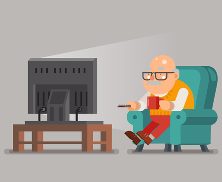 Grandfather Old Man Watching TV Sit Armchair Cartoon Character Flat Design Vector Illustration Ilustração