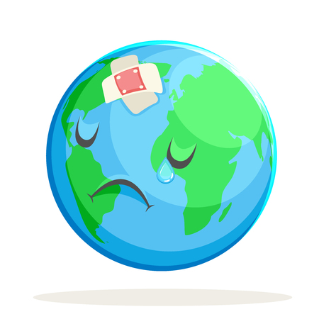 Ecology Sick Sad Suffer Emotion Nature Earth Globe Character Icon Isolated Vector Illustration Çizim