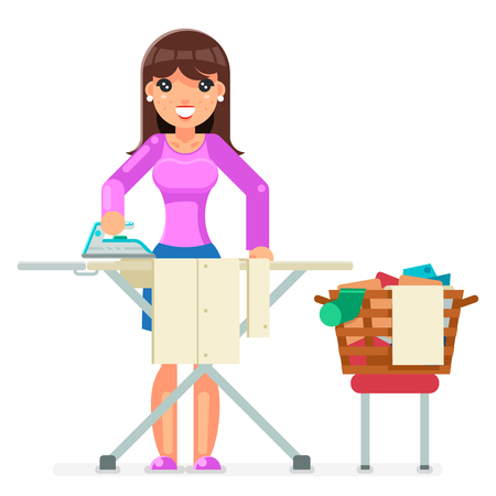 Housework Electric Iron Clean Laundry Clothes Domestic Household Board Household Housewife Female Girl Character.