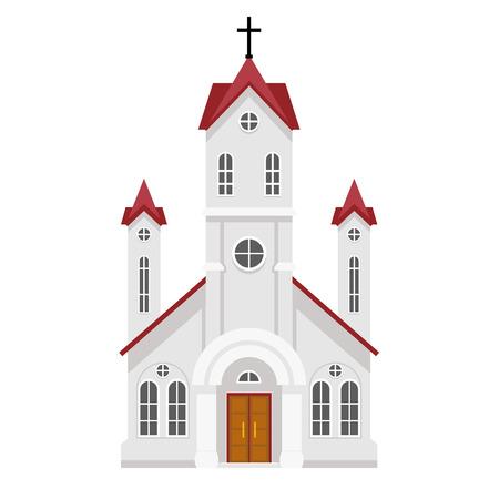 Traditional christian catholic faith church religion building flat design isolated icon vector illustration