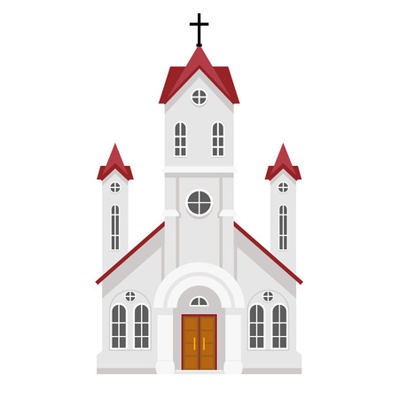 worship praise: Traditional christian catholic faith church religion building flat design isolated icon vector illustration
