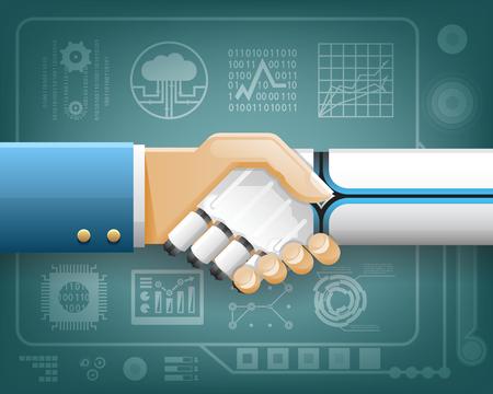 Robot Businessman Handshake Innovation Technology Partnership Symbol Transparent Background Design Isolated Vector Illustration.
