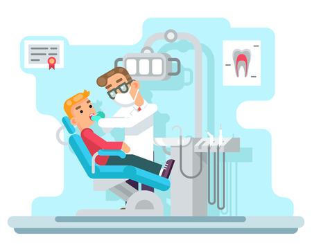 El paciente médico del gabinete del hospital del doctor del dentista sirve el ejemplo plano del vector del diseño.