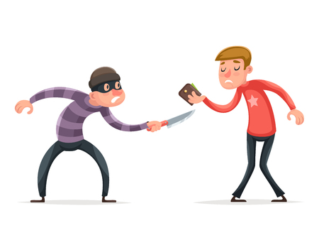 felonious: Robber Burglar Thief Robbery Steal Purse from Helpless Scared Guy Character Isolated Icon Cartoon Design Template Vector Illustration