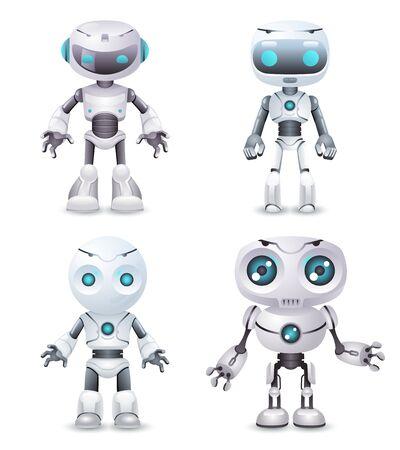 Robot innovation technology science fiction future cute little 3d design vector illustration