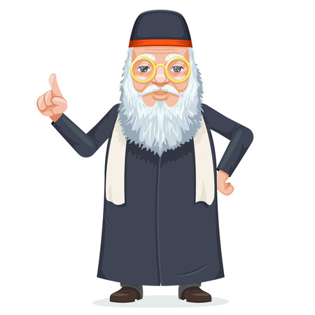 Oriental sage priest mage rabbi beard old mystery wise man secret knowledge kabbalah traditional costume cartoon design character vector illustration