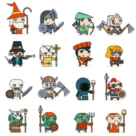 Line art Fantasy Game Vector Illustration