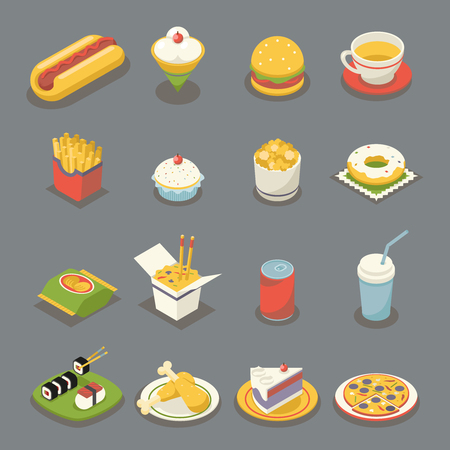 Isometric Retro Flat Fast Food Icons and Symbols Set Flat Design Vector Illustration Illustration