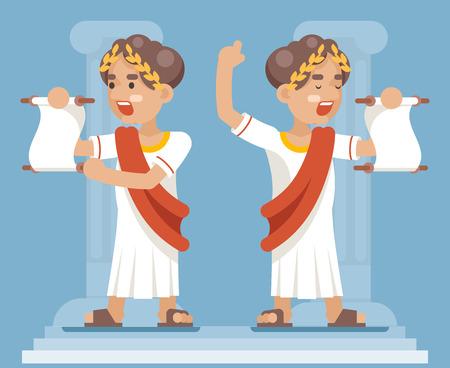 Despliegue de la declaración romana griega Retro Vintage hombre de negocios Cartoon CharacterIcon diseño plano Vector Illustration Ilustración de vector