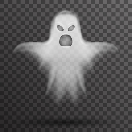 Ghost halloween white scary isolated template transparent night background vector illustration