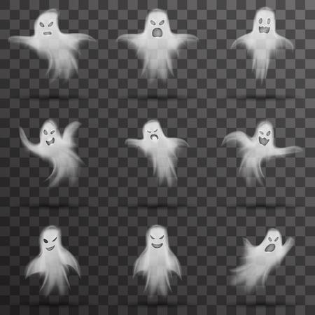 Fantasma de Halloween blanco fantasma aislado plantilla transparente noche fondo vector ilustración