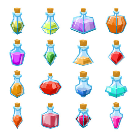 Alchemy witch magic beverage elixir potion poison antidote glass bottle icons set isolated cartoon design game vector illustration