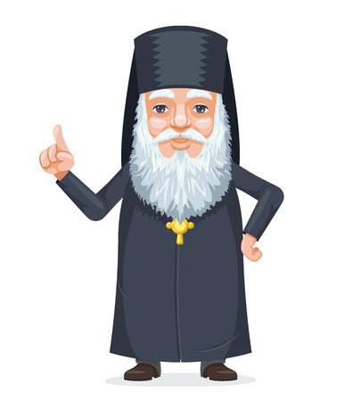 Christian orthodoxy priest beard old mystery wise man secret knowledge traditional costume cartoon character design vector illustration Vettoriali