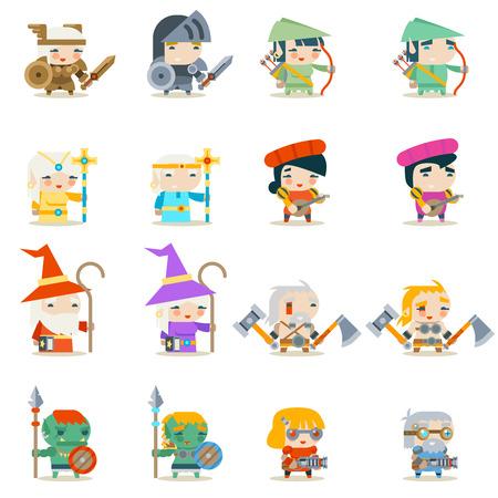 Männliche weibliche Fantasy RPG Spiel Charakter Vektor Icons Set Vektor-Illustration Standard-Bild - 86911871