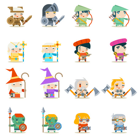 Male Female Fantasy RPG Game Character Vector Icons Set Vector Illustration