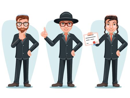 Modern Orthodox Smart Casual Young Israel Businessman Male Cartoon Characters Isolated Icons Set Design Vector Illustration Illustration