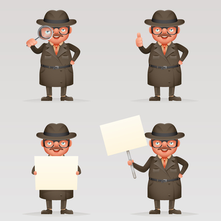 Cute detective spy investigation coat magnifying glass eye 3d cartoon character mascot isolated vector illustration