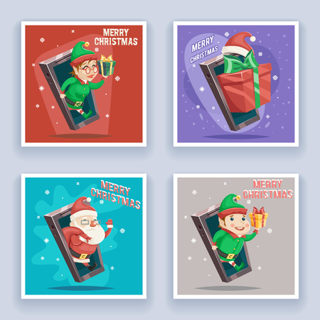 greating card: Cute Santa Claus with Gift Bag Elf Male Female Christmas New Year Greeting Card Mobile Phone Cartoon Design Vector Illustration
