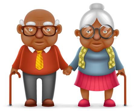 Afro American Cute Smile Happy Elderly Couple Old Man Love Woman Grandfather Grandmother 3d Realistic Cartoon Family Character Design Isolated Vector Illustration