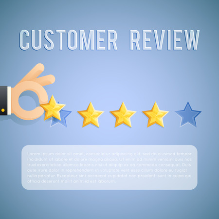 five stars: Customer experience review hand holding star template background cartoon design business concept vector illustration