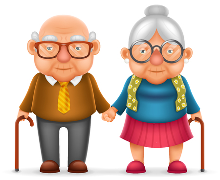 Cute Smile Happy Elderly Couple Old Man Love Woman Grandfather Grandmother 3d Realistic Family Character Cartoon Design Isolated Vector Illustration